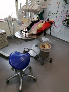 Dental table prepared for the patient